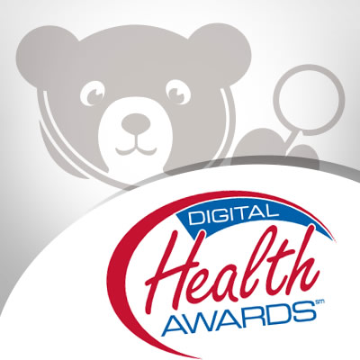 bear with stethoscope and Digital Health Award Logo