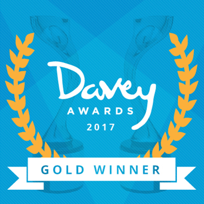Davey Gold Winner logo w/ blue background with trophies