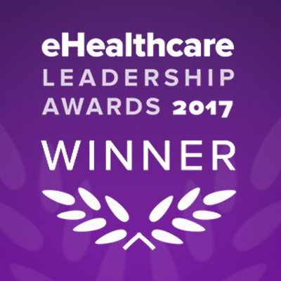 eHealthcare winner logo with purple background