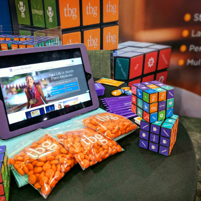 ipad, candy, Rubiks' cubes with TBG branding
