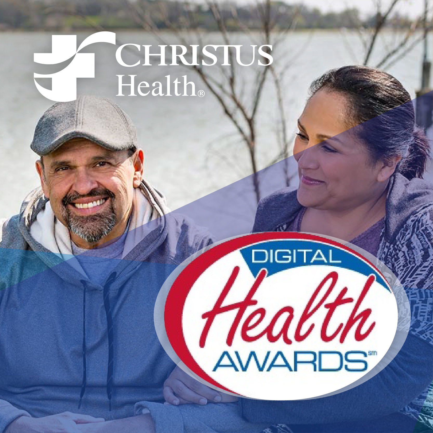 a man and woman with Digital Health Awards and Christus Health logos