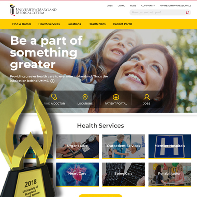 umms.org homepage with award trophy