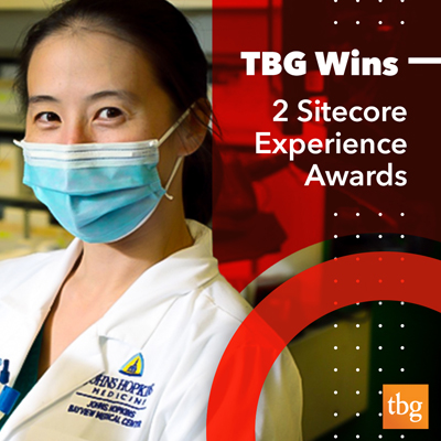 Image of a doctor wearing with text announcing TBG's sitecore wins