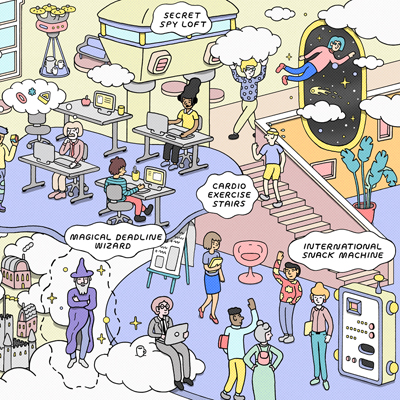 illustration of a surreal workplace by wilson ward kemp