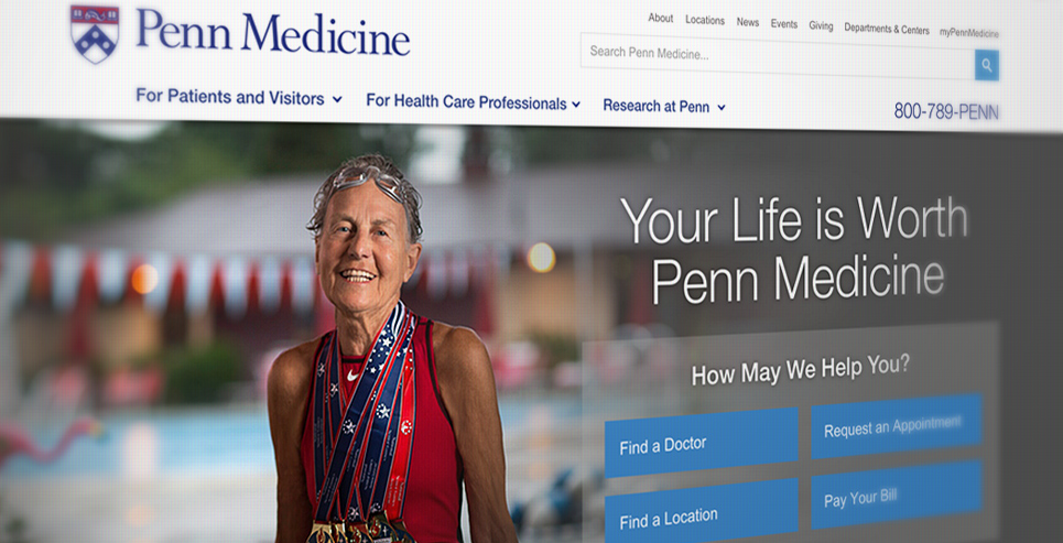 screenshot of Penn Medicine homepage with female swimming champion