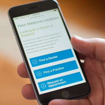 smartphone with Penn Medicine website search
