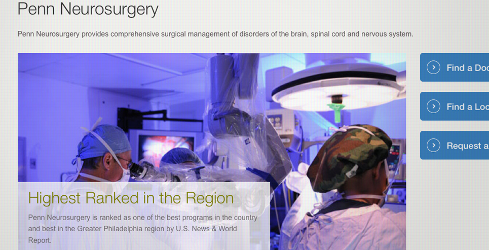 screenshot of Penn Neurosurgery landing page
