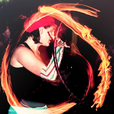 Hula Hooping with fire