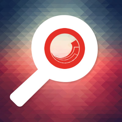 Sitecore logo inside a search magnifying glass icon