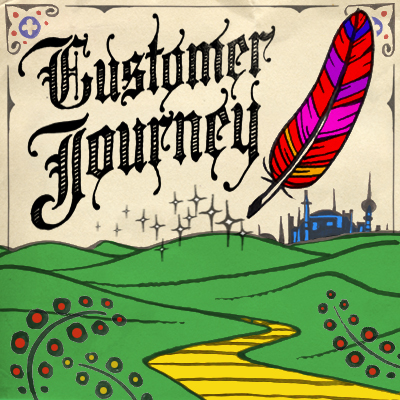 """Customer Journey"" above a green landscape leading to a castle"
