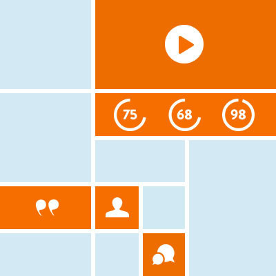 blue and orange colored squares with icons