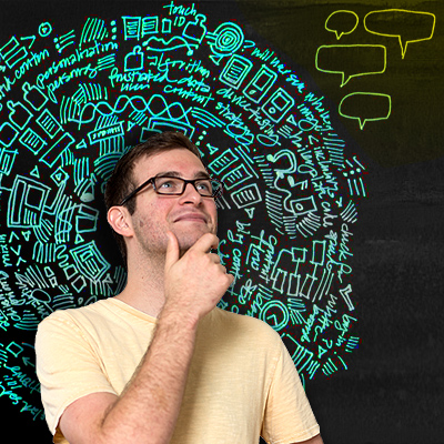 man surrounded by thought bubbles and icons