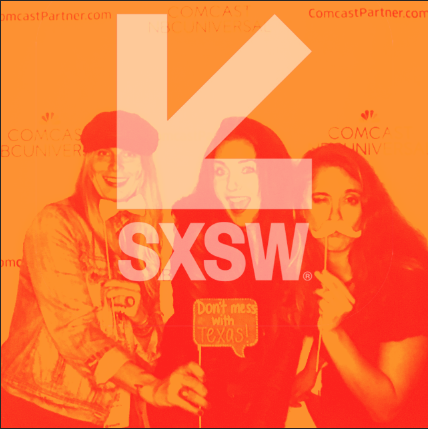 SXSW logo with women having fun in background