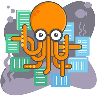 Illustration of an octopus juggling multiple forms