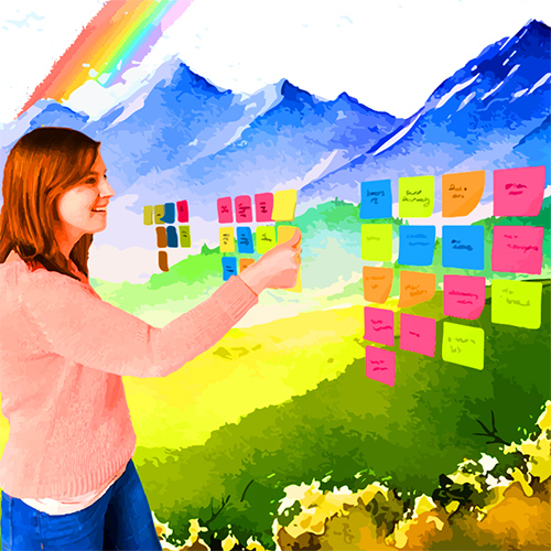 woman with post its in front of a mountain and rainbow landscape