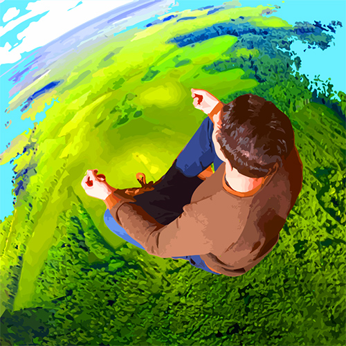 perspective looking down on man on earth