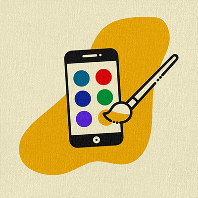 Illustration of a paint palette on a smart phone