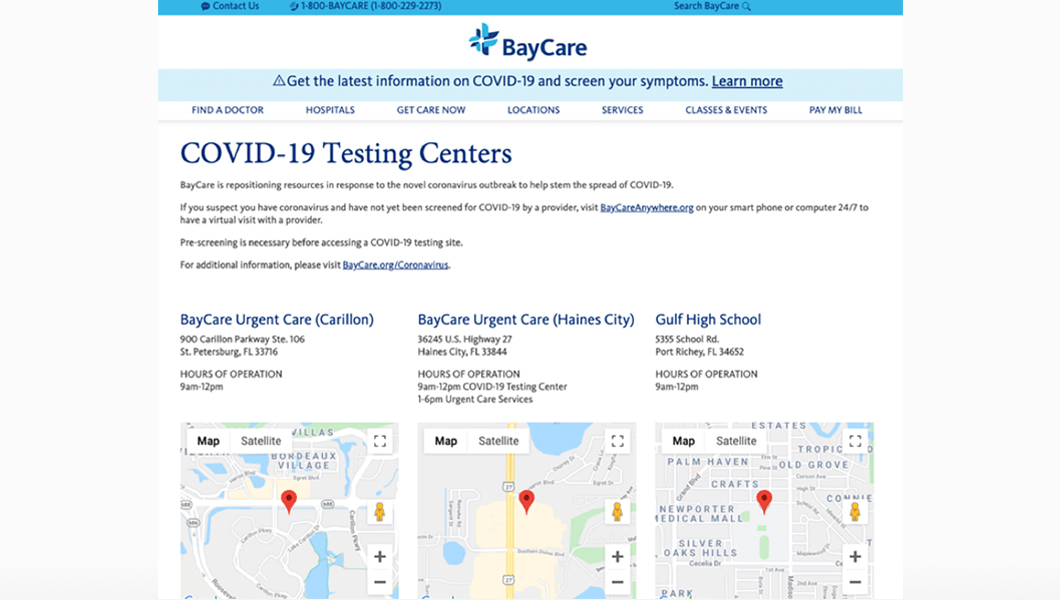 BayCare Testing Locations